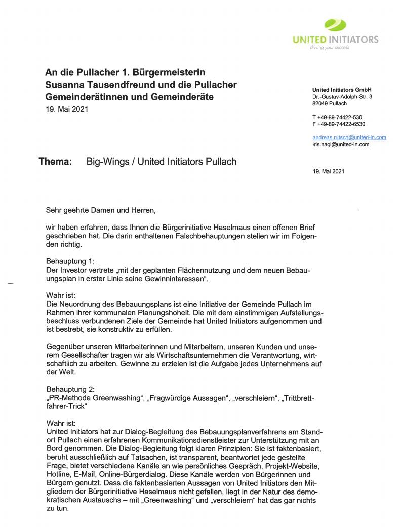 Brief von United Initiators an Bürgermeisterin und Gemeinderat Pullach zu Falschbehauptungen der BI Haselmaus